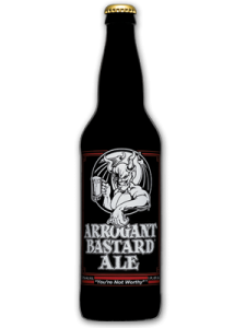 Arrogant Bastard Ale chilled pint