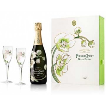 Perrier-Jouet Belle Epoque 2007 1 Bottle 2 Flute Set